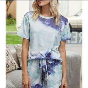 • (10/12) Mint & Blue Tie Dye Lounge Set •